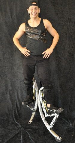 Rocker in black costume