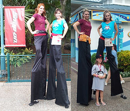 Female handymen stilt walker