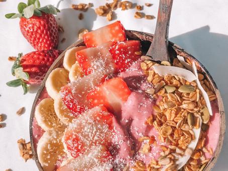Vegan Strawberry Sorbet Smoothie Bowl