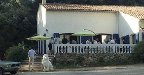 Accueil-café servi sur la terrasse du Domaine