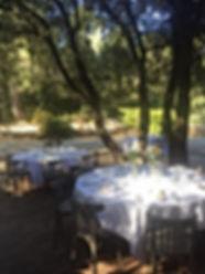 Mariage champêtre et tables dressées sous les chênes du Domaine des Danjean dans le Var