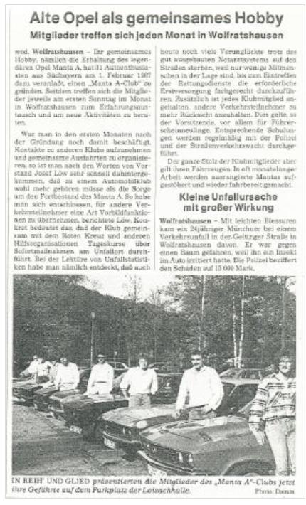 Artikel über den MAC 1988 einer Lokalzeitung