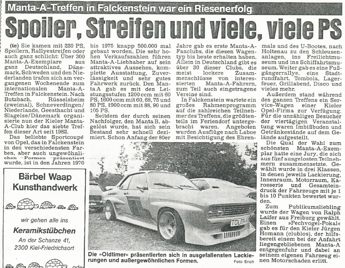 Internationales Treffen 1988 in Falckenstein. Im Jahr 1990....Sammler und Jäger. Wer weiß wie die Teilesituation mal wird, heute (2012) wissen wir es nur zu gut.