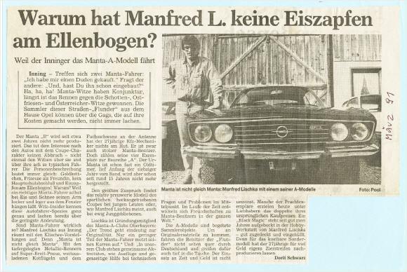 1991 ein Artikel im Starnberger Merkur Eben aus der Zeit wo viele Manta letztendlich der dummen Sprüche wegen sterben mussten.