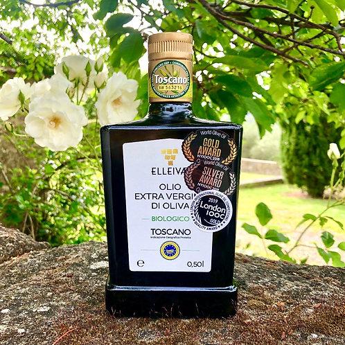 2019 ELLEIVÆ Biologico EVOO. 1 (one) carton of 4 bottles (0.5l). IGP Tos