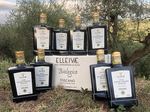 2020 ELLEIVÆ Biologico EVOO. 8 (eight) bottles. IGP Toscano.
