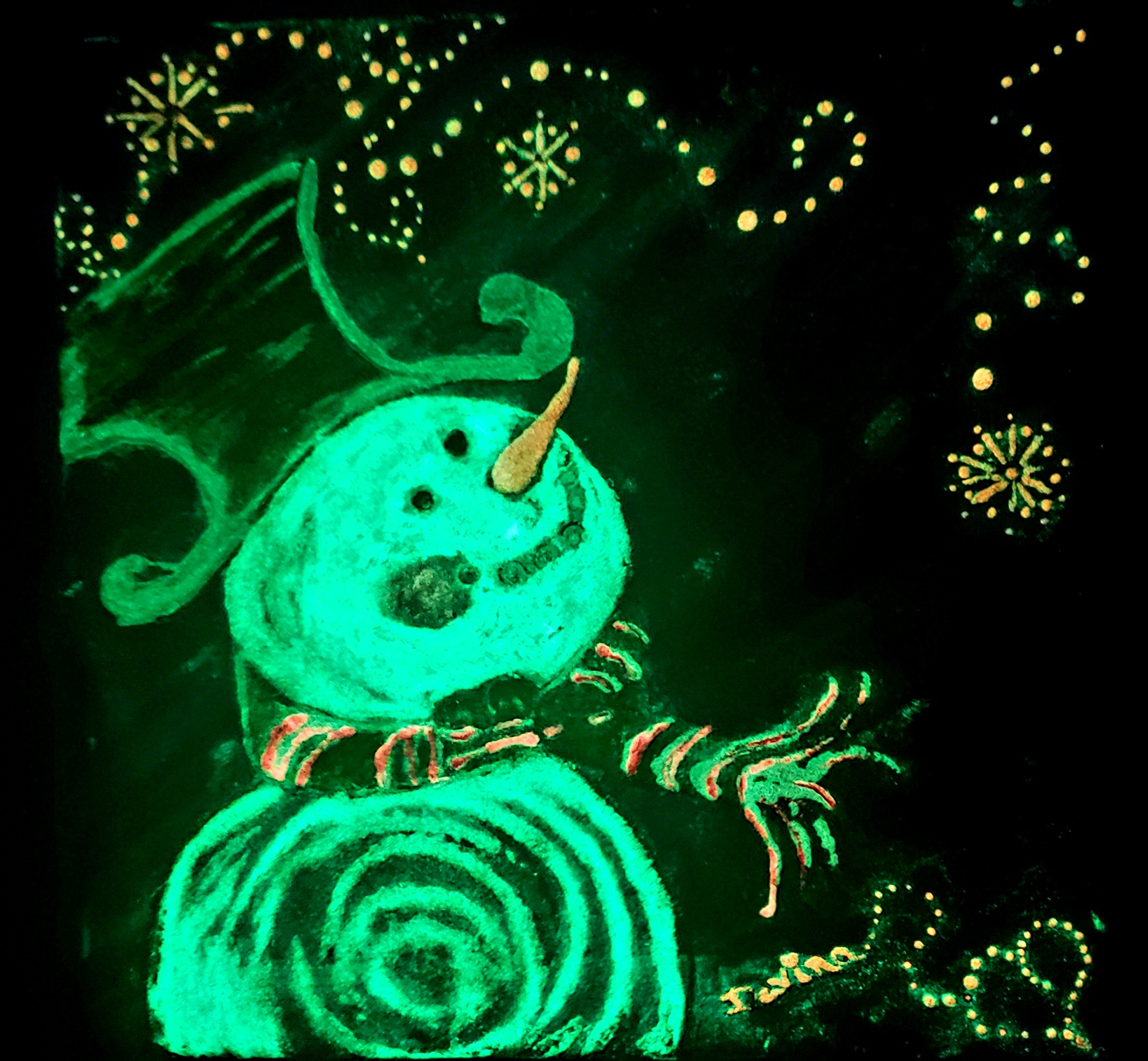 Glow in the Dark Snowflake Snowman Dark