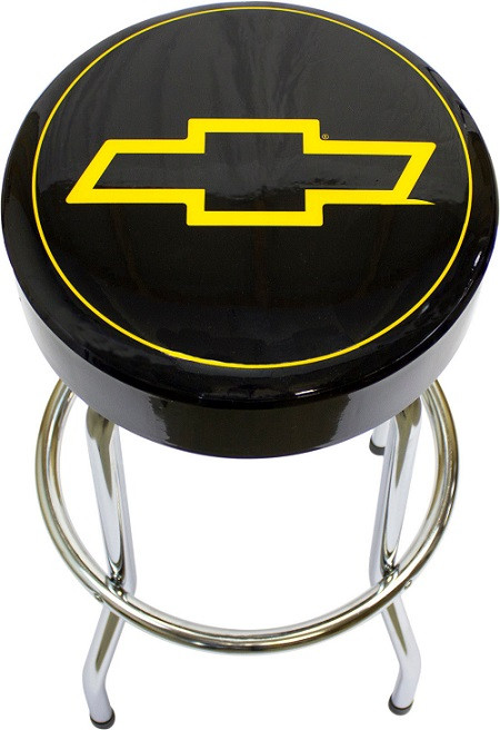 Chevy Bowtie Bar Stool Garage Chair Seat Padded Kitchen Metal Black Car Truck Shop