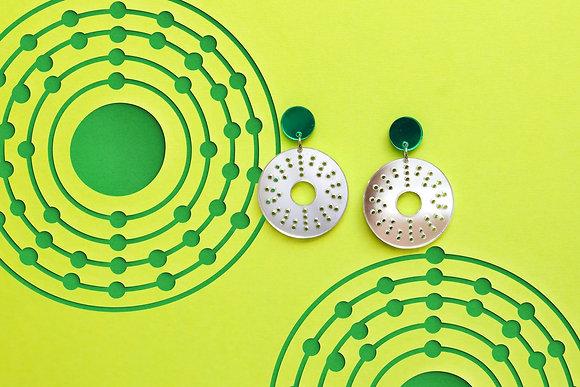 Silver Atom Earrings