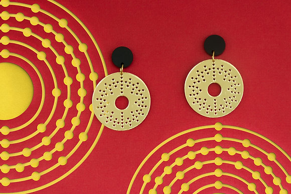 Gold Atom Earrings