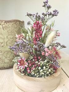 Composition fleurs séchées naturelles champêtre baies gypsophile corail bohème Melany Gilis