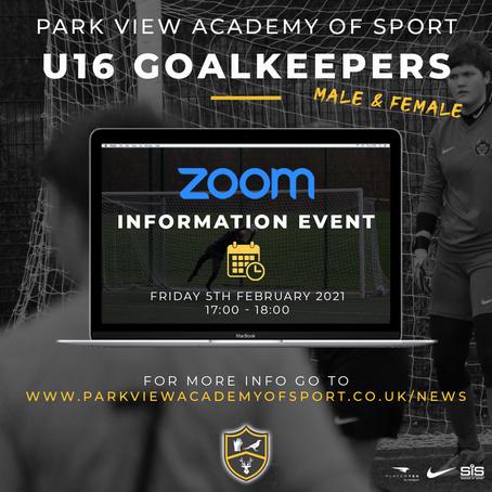 U16 Goalkeepers Zoom Presentation