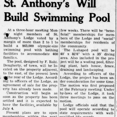 St. Anthony's Pool Opening