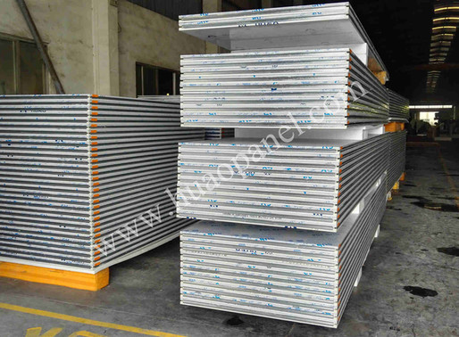 clean room stainless steel sandwich panel under construction