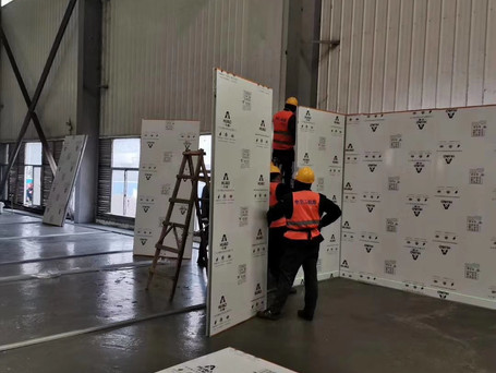 partition wall assembled for isolation ward