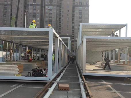 mobile cabin hospital under construction