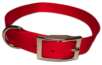 Nylon Dog Collar Metal Buckle - Red