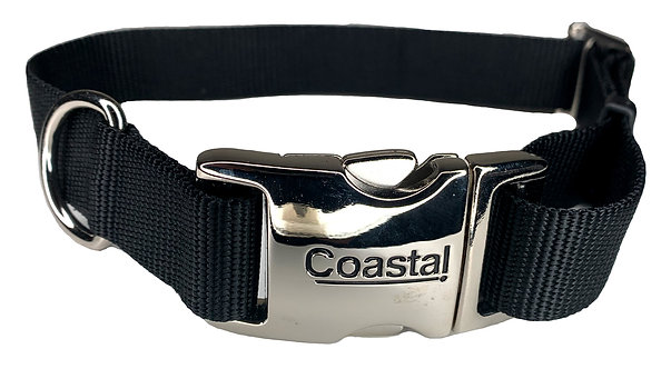 Nylon Dog Collar Metal Clip - Black