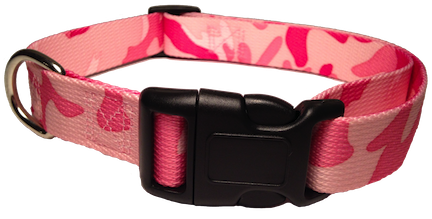 Nylon Dog Collar Plastic Clip - Pink Camo