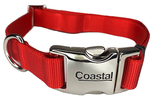 Nylon Dog Collar Metal Clip - Red