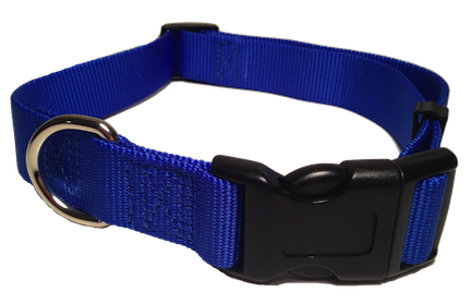 Nylon Dog Collar Plastic Clip - Blue
