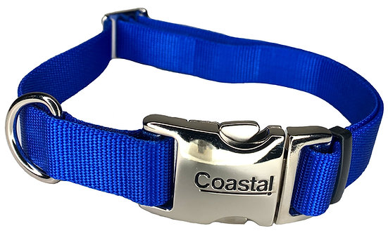 Nylon Dog Collar Metal Clip - Blue