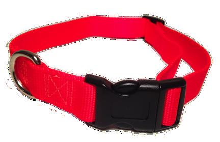 Nylon Dog Collar Plastic Clip - Bright Red