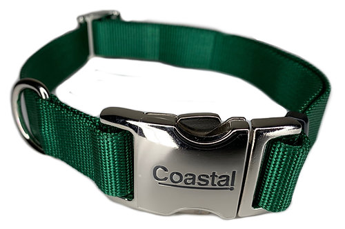 Nylon Dog Collar Metal Clip - Green