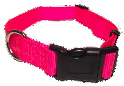 Nylon Dog Collar Plastic Clip - Hot Pink