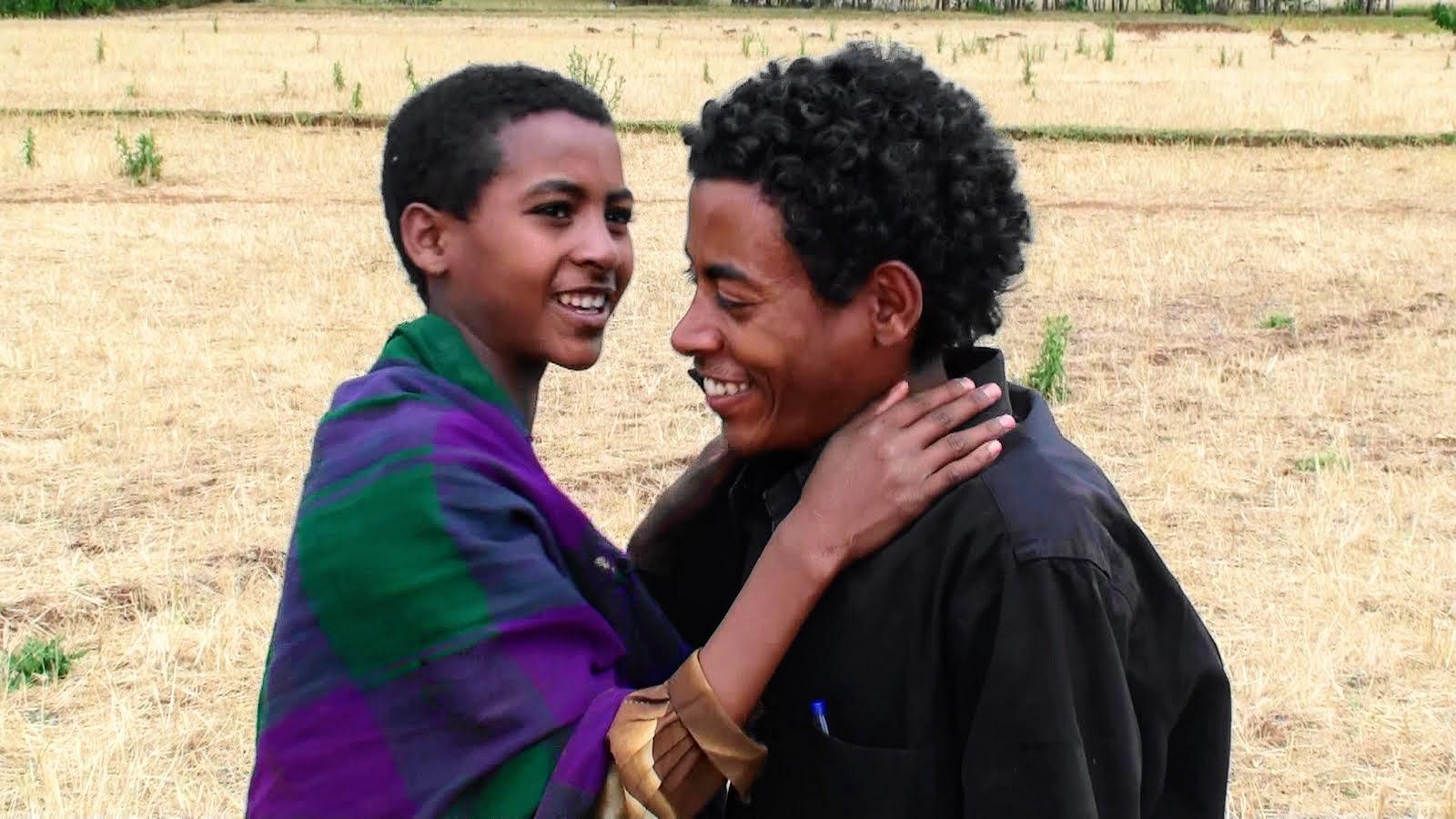 Tesfaye and sister Fanteye embrace
