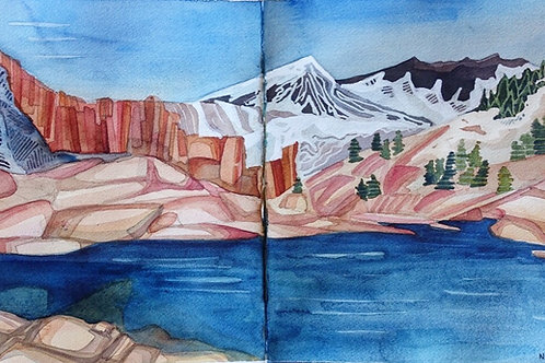 Sketchbook Print / The Lake after Muir Pass, California