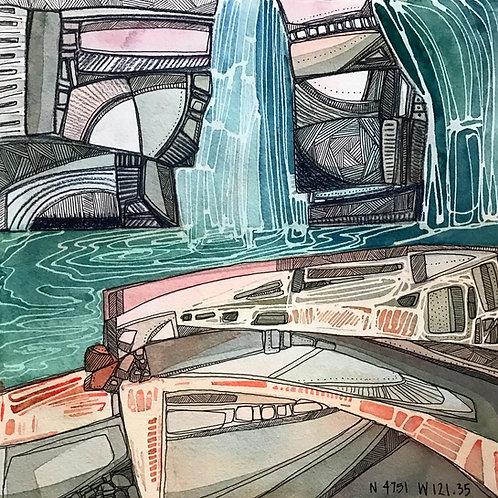 Sketchbook Print / Dutch Miller Gap Waterfall