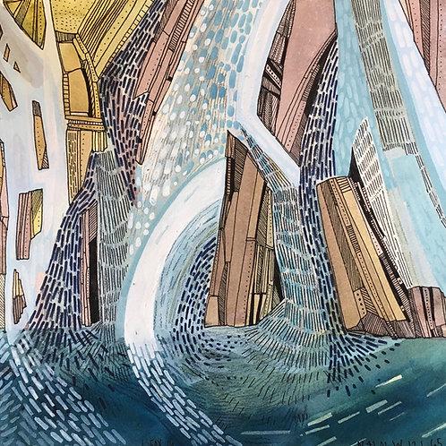 Sketchbook Print / Burney Falls Abstraction
