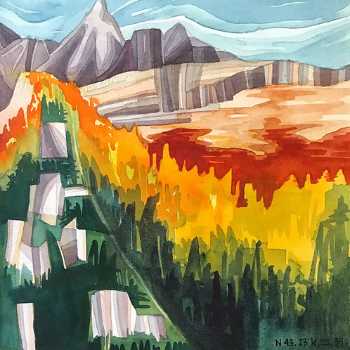 Sketchbook Print / Larches Landscape, Washington