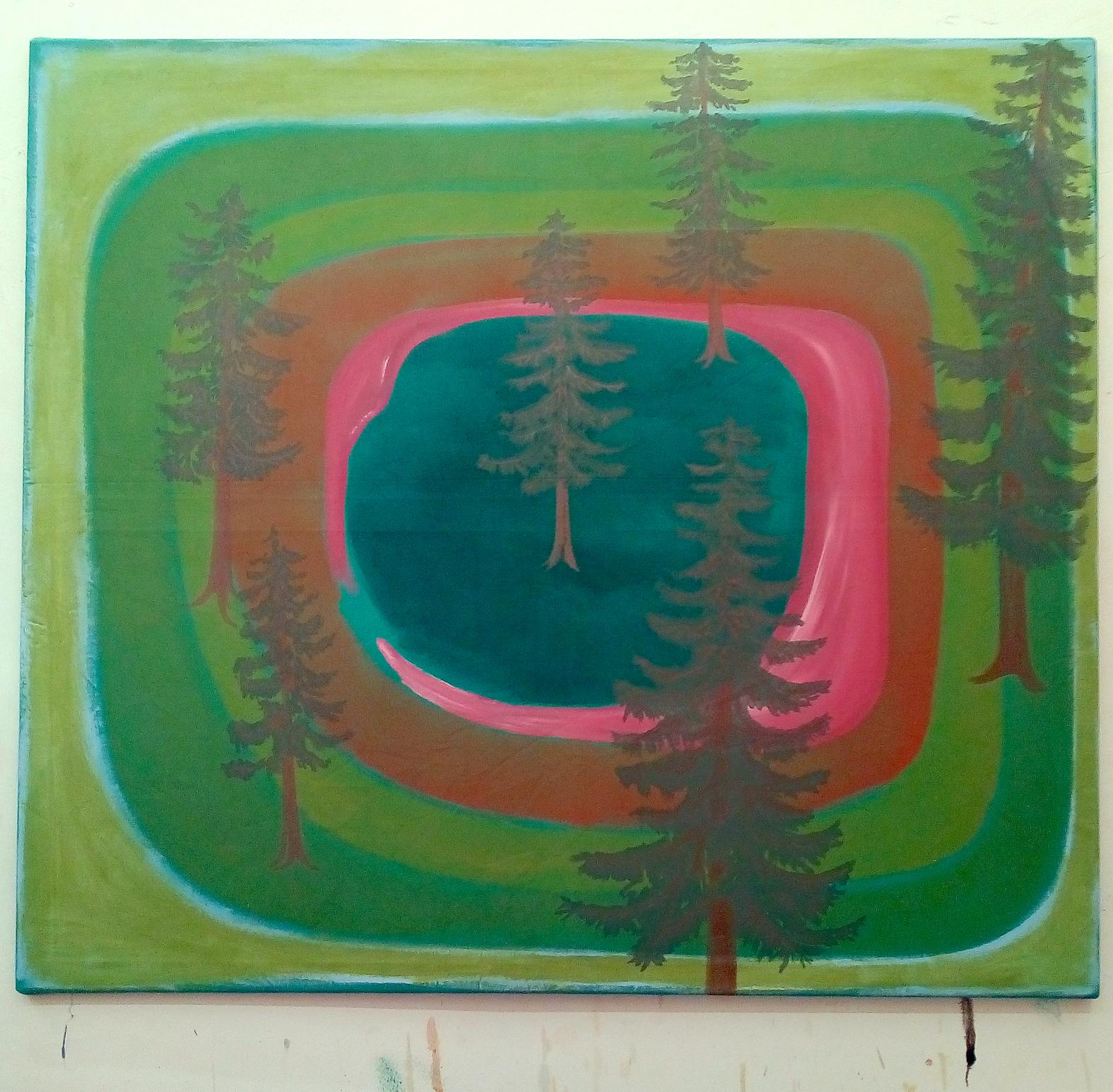 1_Fichten Malerei, 120 x 135 cm, Acryl a