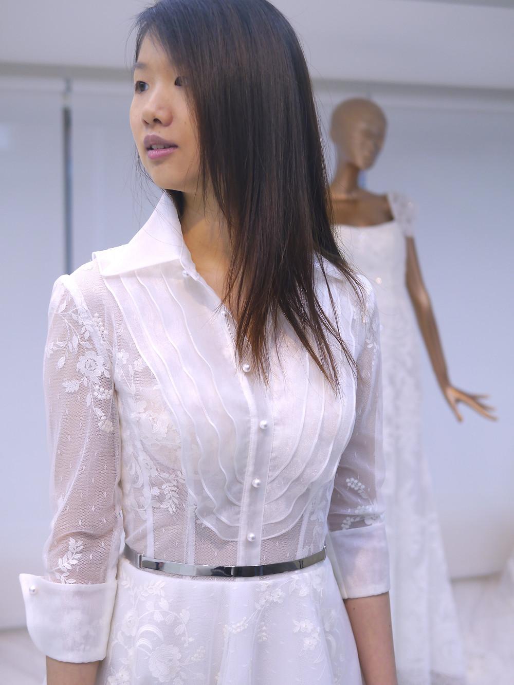 #8分袖 #襯衫領設計 #蕾絲款長拖白紗