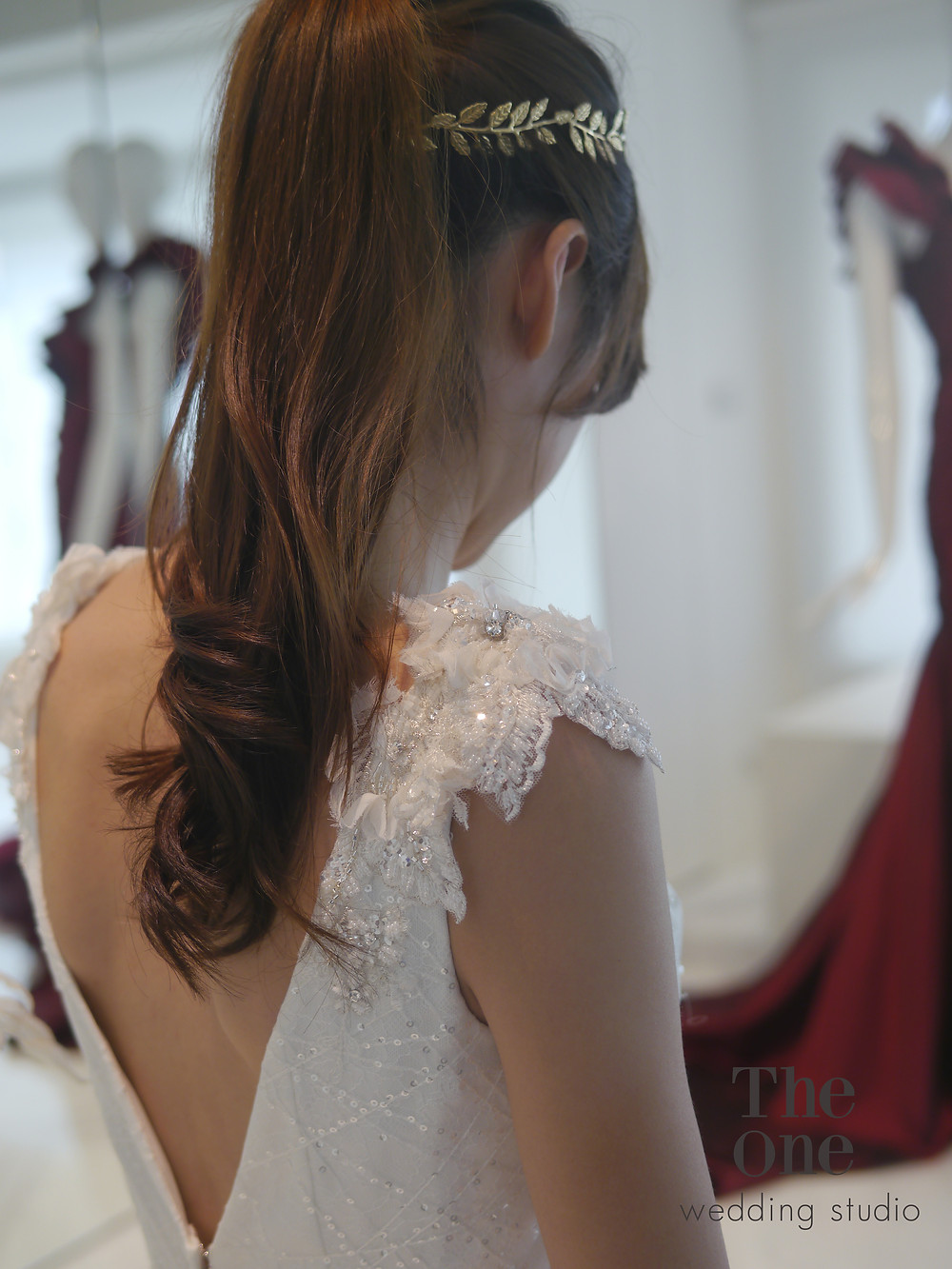 #時尚白紗 #小深V #顯瘦版 #3D立體蕾絲