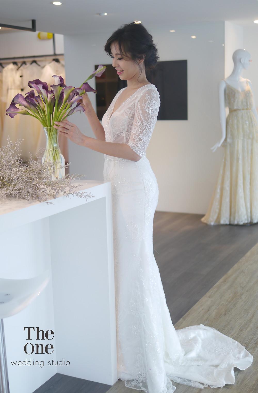 #美式繡珠白紗 #高級蕾絲 #魚尾裙