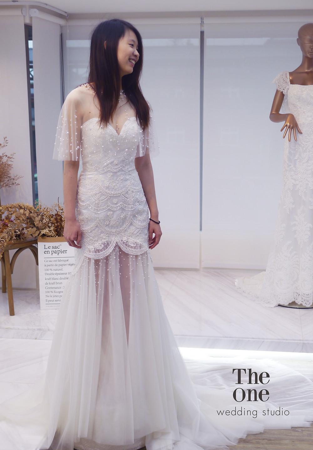 #活動珍珠罩紗 #高級立體蕾絲 #手工珠飾