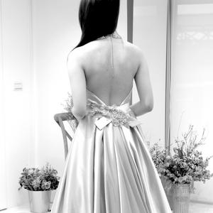 #經典長拖蓬裙 #典雅設計 #緞白紗 #優雅款