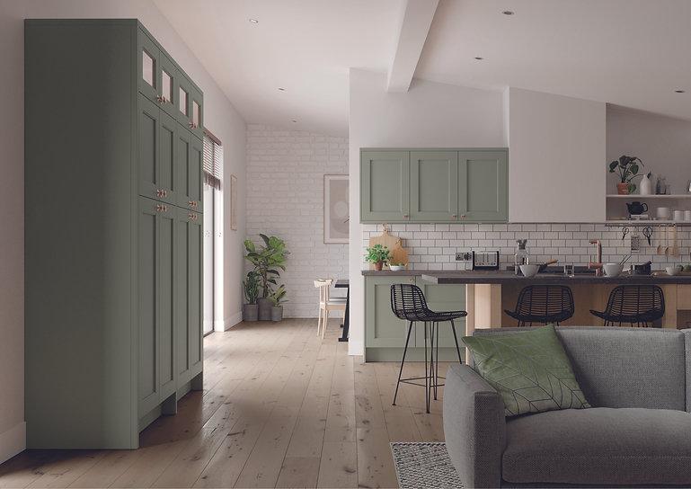 Sage Green open plan kitchen