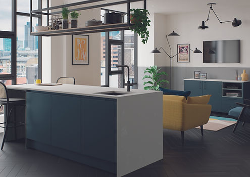 Kelso Pacific Blue and Zola Matte Marine kitchen living area