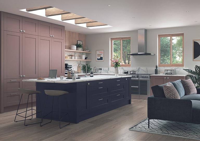 Vintage Pink and Slate Blue shaker kitchen