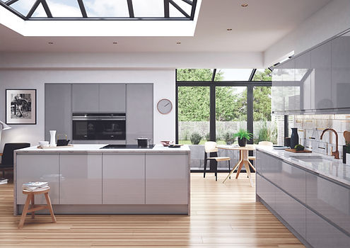 Strada Gloss Grey kitchen with island