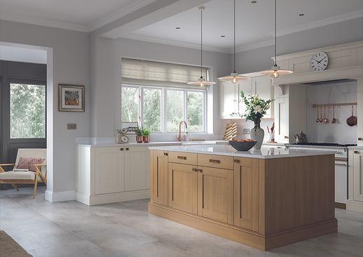 Madison Light Oak and Ivory shaker kitchen