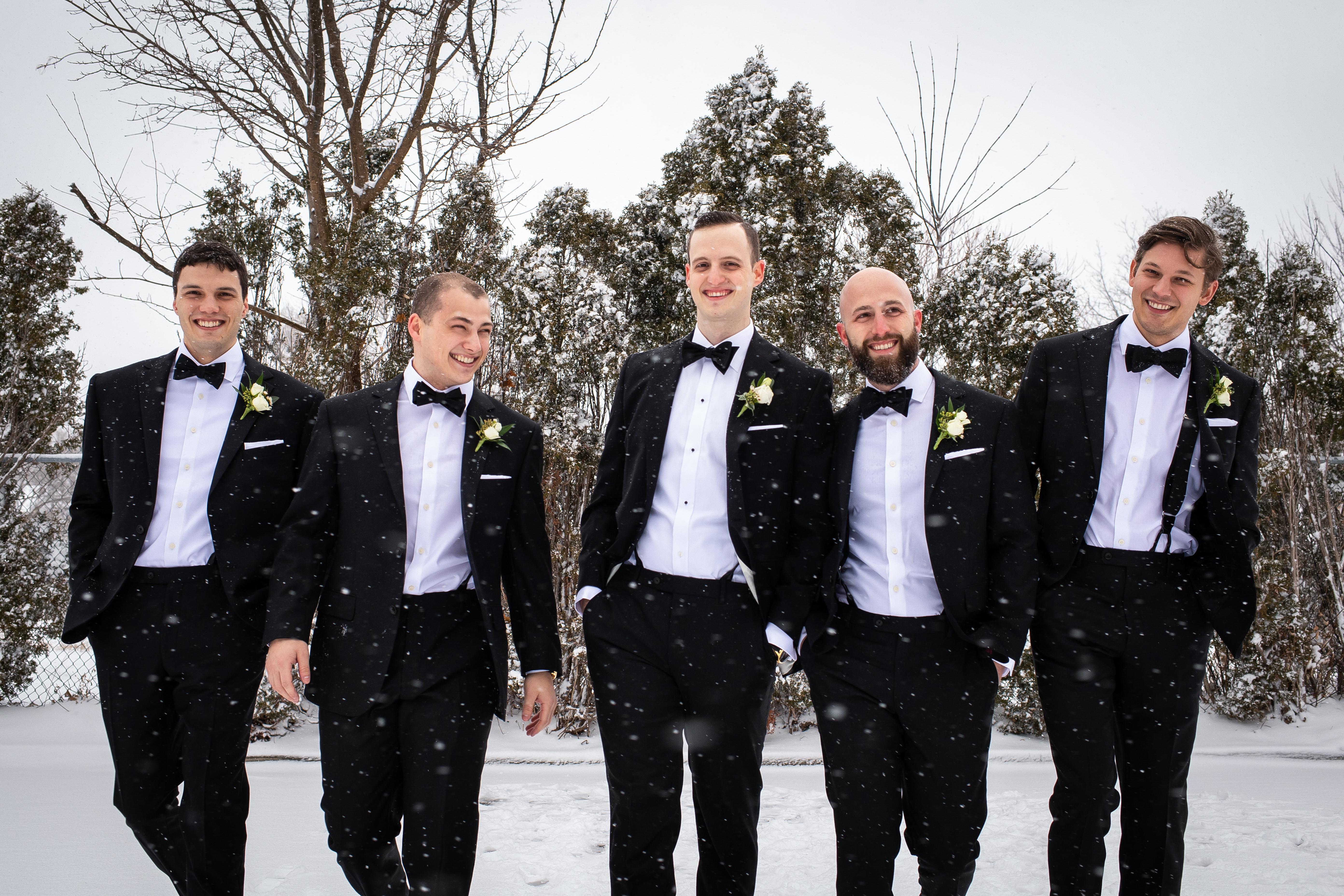 Winter Wedding London Ontario Canada Groom Groomsmen