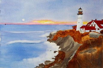 Emilie Beckwith watercolor of Normand Charlette's Portland Head Light at  First L