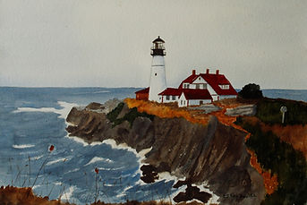 Beckwith, Emilie watercolor interpretation of Normand Charlette's photo Portland Head Light
