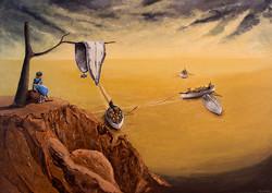 Alice observa barcos no deserto