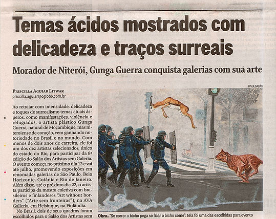 Se correr o bicho pega_Gunga Guerra na matéria do Jornal O Globo